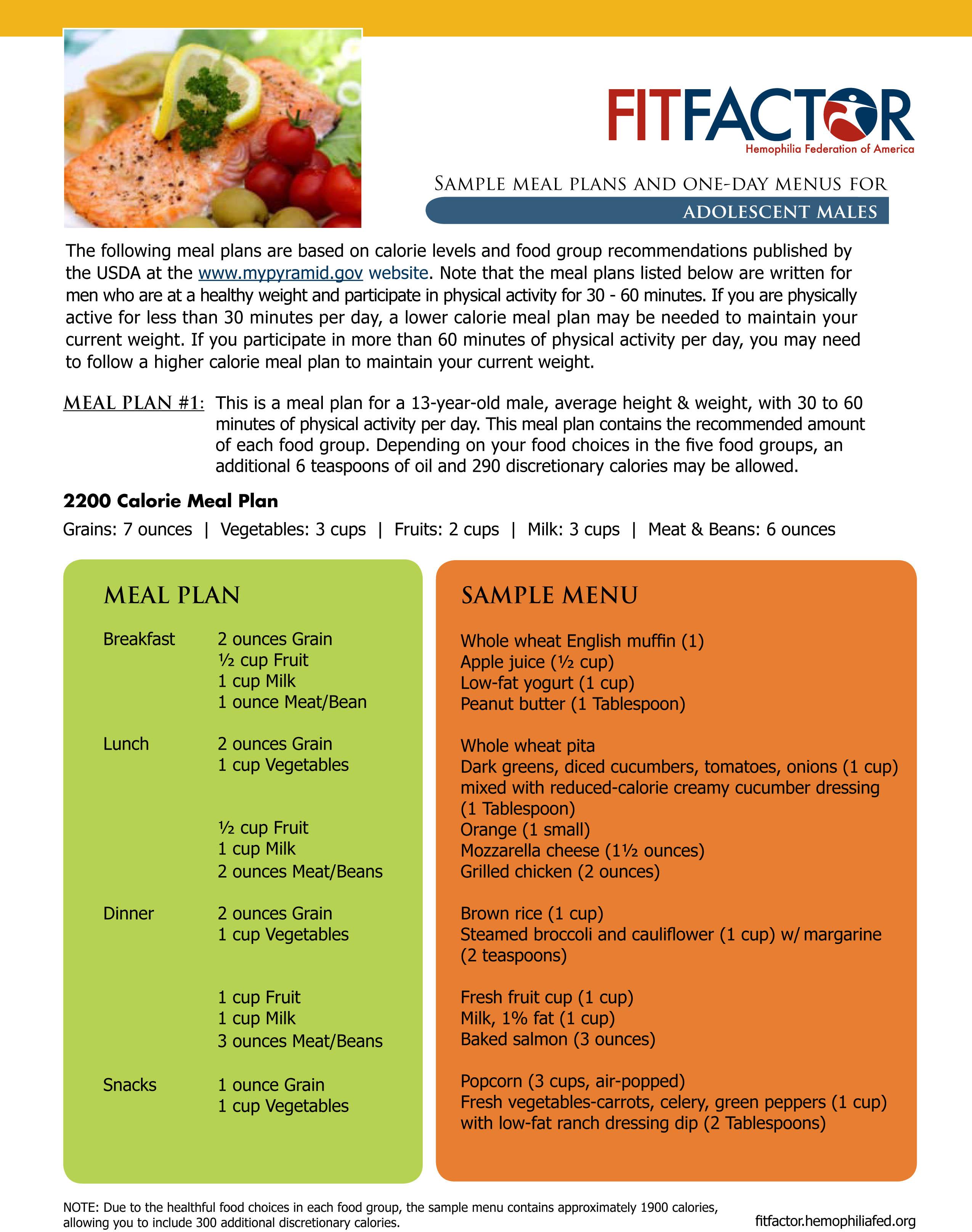 Meal Plan Sample Menu