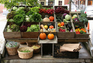 fruits and vegeatable in an outdoor market