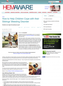 Hemaware_Cope with Sibling Bleeding Disorder_image