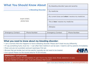 Bleeding Disorder Information Card