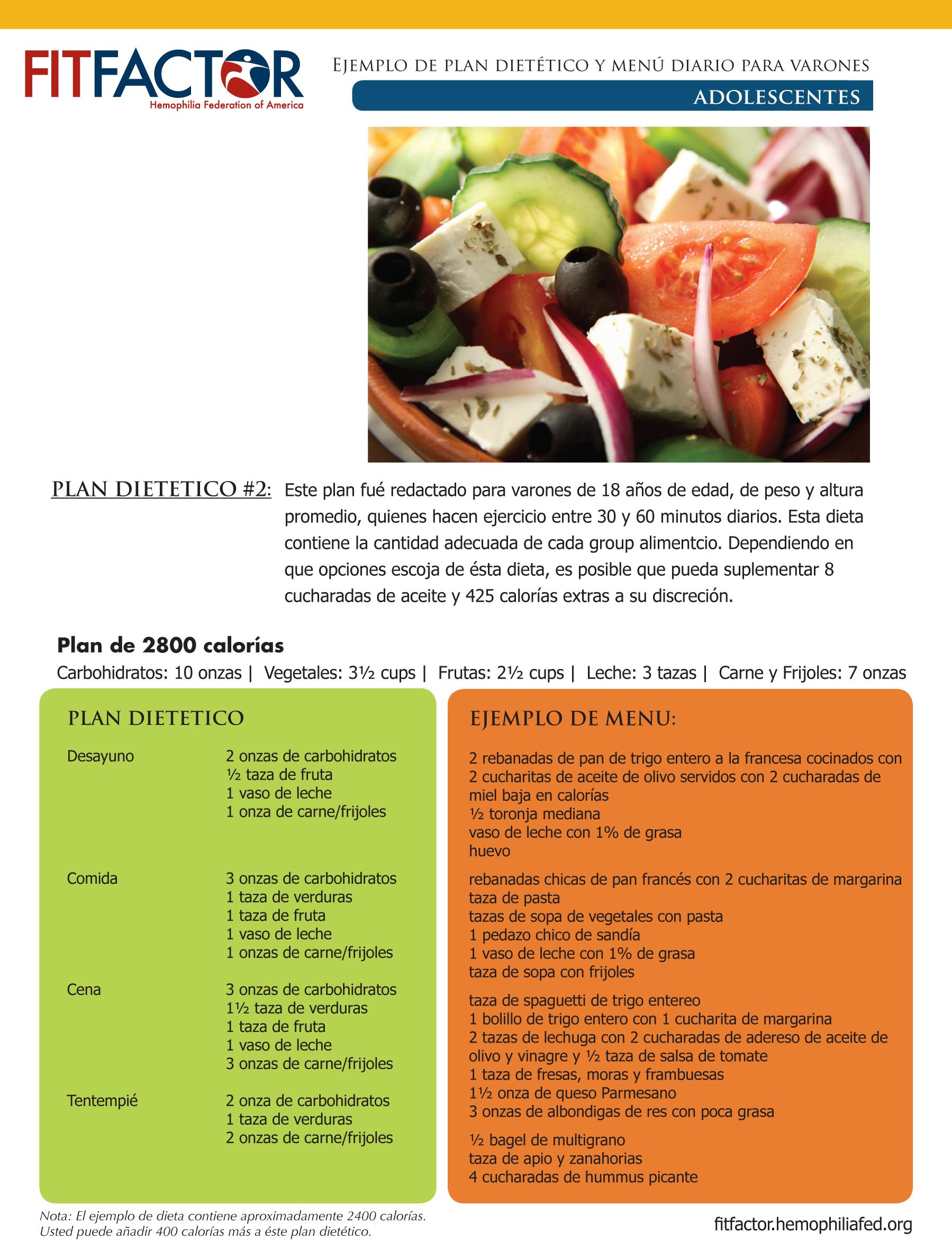 ejemplo de plan dietético y menú diario para varones - hemophilia