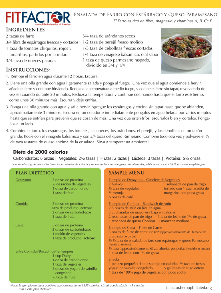 recipe cards farro spanish